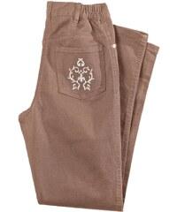 Blancheporte Džínové kalhoty s výšivkou, menší postava hnědošedá 36