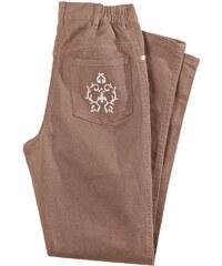 Blancheporte Džínové kalhoty s výšivkou, vyšší postava hnědošedá 38