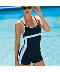 Blancheporte Jednodílné plavky s nohavičkami černá/bílá 44