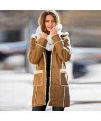 Blancheporte Kabát ve vzhledu ovčí kůže karamelová 38