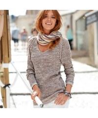 Blancheporte Melírovaný pulovr z anglického úpletu melír hnědošedá 34/36