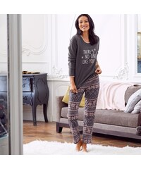 Blancheporte Fleecové pyžamo s potiskem šedá/růžová 34/36
