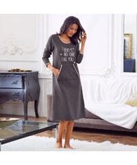 Blancheporte Fleecová noční košile s potiskem šedá/růžová 34/36