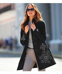 Blancheporte Kabát s výšivkou, vlněný efekt černá 38