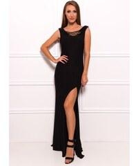 Due Linee Společenské dlouhé šaty s provázkovým dekoltem - černá