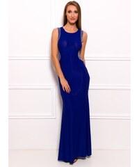Due Linee Společenské dlouhé šaty s korálky na boku - modrá