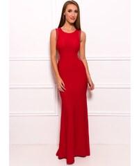 Due Linee Společenské dlouhé šaty s korálky na boku - červená