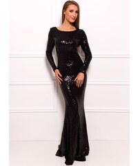Due Linee Společenské luxusní dlouhé šaty s flitry a rukávy - černá