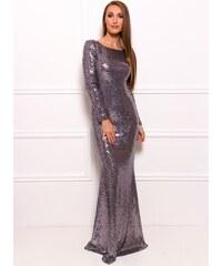 Due Linee Společenské luxusní dlouhé šaty s flitry a rukávy - stříbrná
