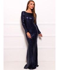 Due Linee Společenské luxusní dlouhé šaty s flitry a rukávy - tmavě modrá
