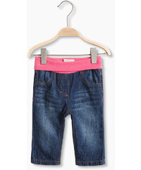 Esprit Doux jean basique à taille haute côtelée