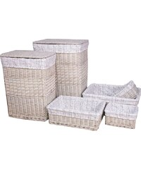 AQUALINE - Prádelní koš, set 6 ks, krémová (KF028)