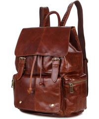 Delton Bags Kožený batoh koňakové barvy Vintage AE11