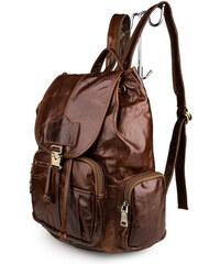 Delton Bags Víceúčelový hnědý kožený batoh R8-4-5783