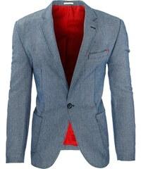 Netradiční pánské sako v tmavě modré barvě