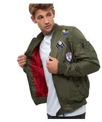 ELISE RYAN Khaki bomber bunda s odznaky a nášivkami