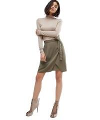 HUSH HUSH Khaki wrap sukně s mašlí v pase