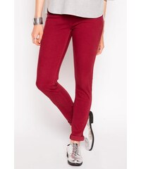 Pantalon slim uni strass poches Rouge Coton - Femme Taille 36 - Cache Cache