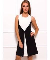Glam Dámské elegantní šaty černo - bílé s knoflíkem