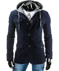 Moderní stylový pánský tmavě modrá kabát