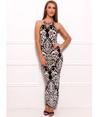 Due Linee Společenské dlouhé šaty s motivem květin - černá