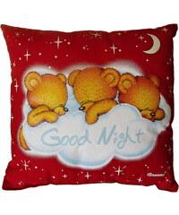 M-Sector Svítící polštářek Medvídci good night červená 28x28 cm