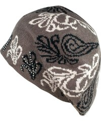Art of Polo Šedohnědá baretka s květinovými ornamenty