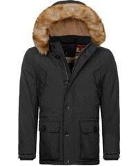 J. Style Zateplená zimní černá bunda s kapucí J.STYLE 3065