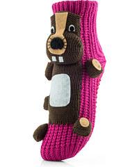 Attractive Pletené ponožky CHAUSSONS CHAUSSETTES 26 WHA BEAVER CARMINE