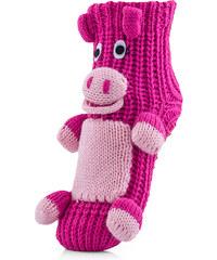 Attractive Pletené ponožky CHAUSSONS CHAUSSETTES 10 KHA PIG PINK