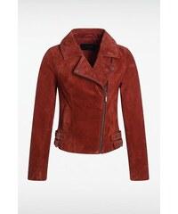 Veste femme asymétrique cuir velours Rouge Polyester - Femme Taille L - Bonobo