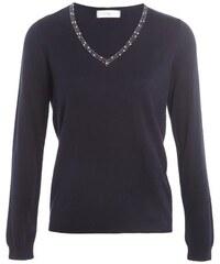 Pull col V avec strass Bleu Coton - Femme Taille 0 - Cache Cache