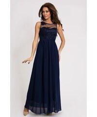 Eva&Lola Dámské dlouhé modré plesové šaty