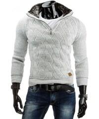 Moderní pánský bílý svetr na zip