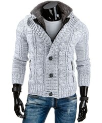 Zimní pánský bílý svetr s kožíškem