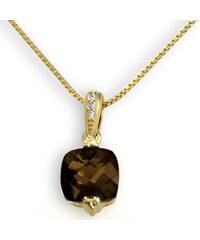 goldmaid Collier 333/- Gelbgold 1 Rauchquarz 3 Diamanten 0,02 ct.