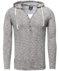 Pánské šedé tričko CARISMA s kapucí