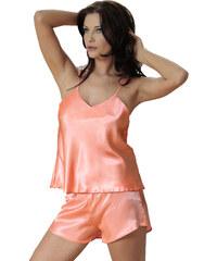 DKaren Dámské saténové pyžamo Karen oranžové