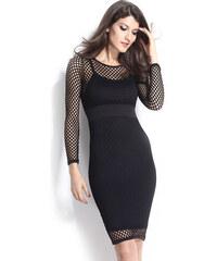 001 Černé síťované sexy šaty s dlouhým rukávem