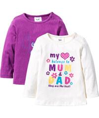 bpc bonprix collection Lot de 2 T-shirts bébé à manches longues en coton bio violet enfant - bonprix