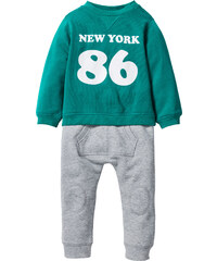 bpc bonprix collection Sweat-shirt bébé + pantalon sweat (Ens. 2 pces.) en coton bio vert enfant - bonprix