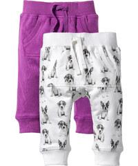 bpc bonprix collection Lot de 2 pantalons sweat bébé coton bio violet enfant - bonprix