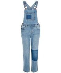 New Look Blaue Jeans-Latzhose in Patchwork-Optik
