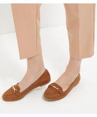 New Look Hellbraune Loafer aus Wildlederimitat mit Schnalle