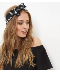 New Look Schwarzes plissiertes Bandana-Halstuch mit Blumenmuster
