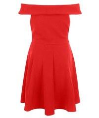 New Look Teenager – Rotes Skaterkleid mit Bardot-Ausschnitt