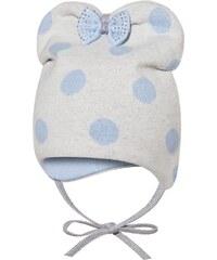 Broel Dívčí čepice s puntíky a mašlí - béžovo-modrá