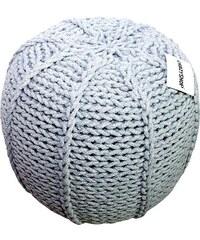 CrazyShop Pletený puf Crazyshop MELON, šedý - ručně pletený