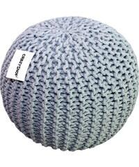 CrazyShop Pletený puf Crazyshop SOLID, šedý - ručně pletený