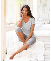 Capri-Pyjama mit geringeltem T-Shirt und legerer Hose H.I.S grau 32/34,36/38,40/42,44/46,48/50,52/54,56/58